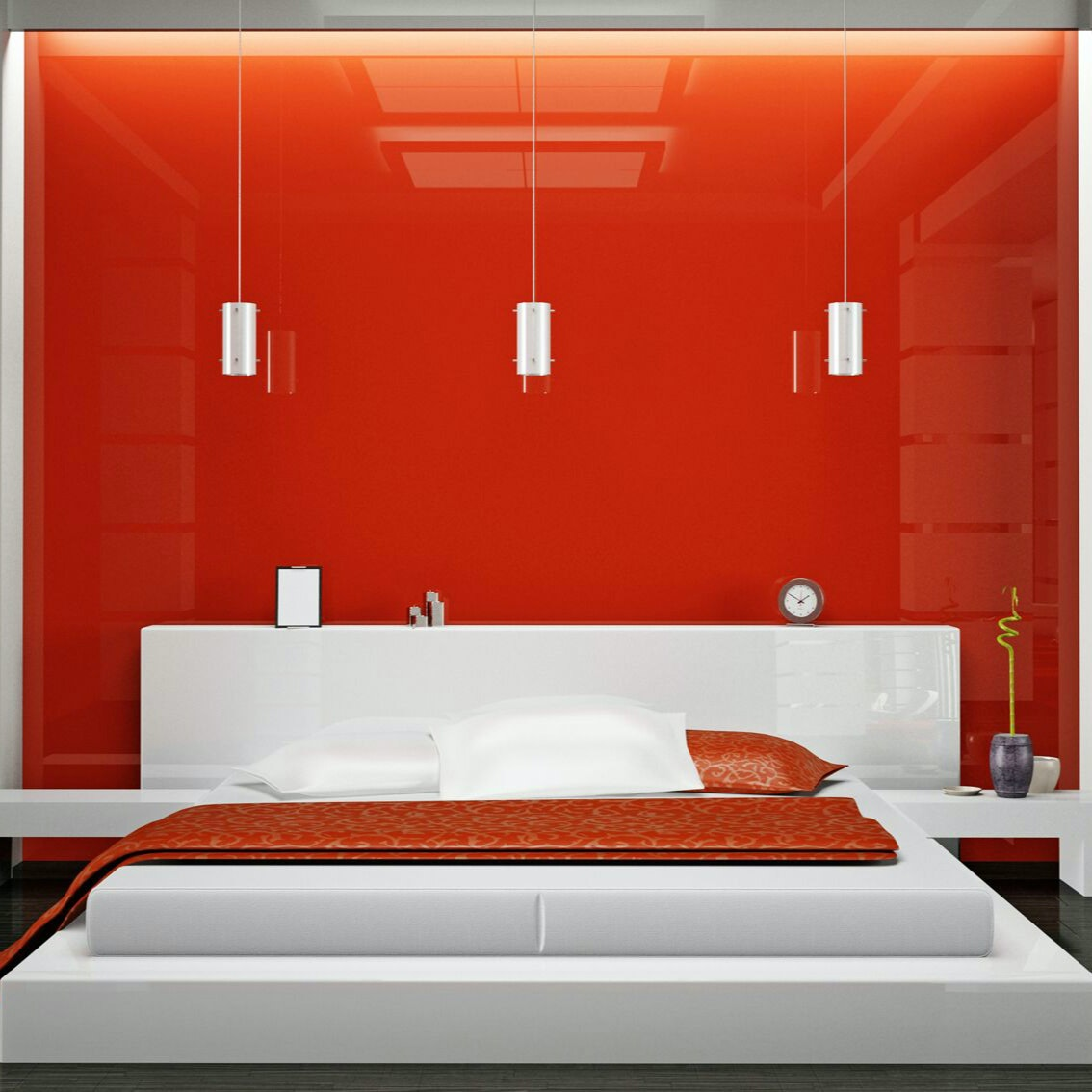 Square Orange Gloss Interior Wall With Bed